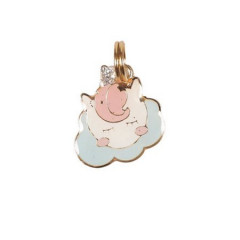 Pingente Unicórnio Nuvem Rosa - Woof Classic - Gravado