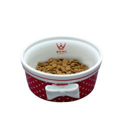 Comedouro Cerâmica Laço  -  Poá Vermelho - Woof Classic
