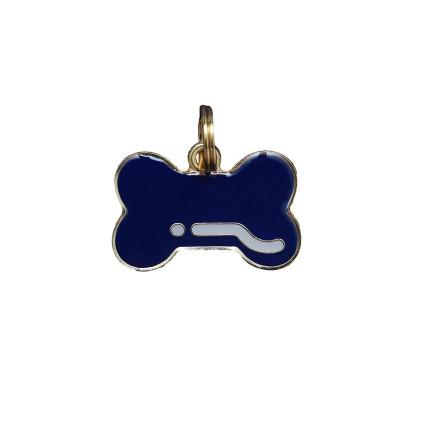 Pingente Osso Azul Marinho - Woof Classic - Gravado